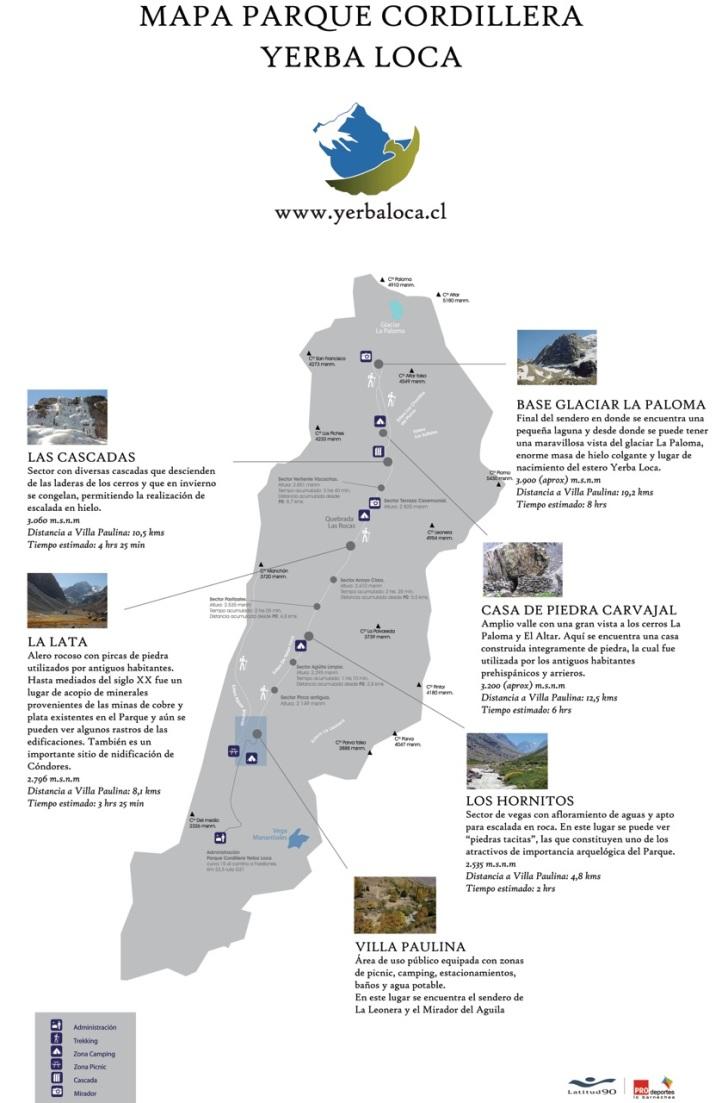 mapa parque yerba loca trilhas trekking chile santiago
