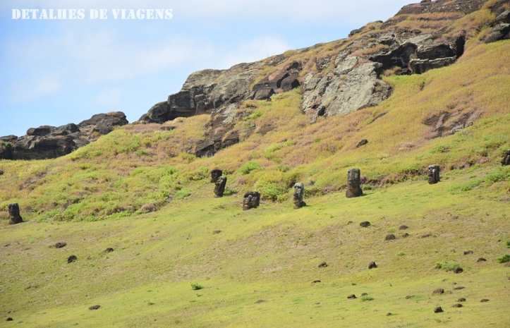 estatuas moai interior cratera rano raraku ilha de pascoa