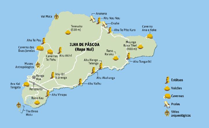 mapa ilha de pascoa atracoes pontos turisticos sitios arqueologicos