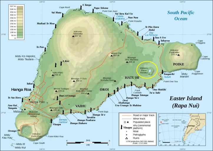 mapa ilha de pascoa rano raraku atracoes pontos turisticos sitios arqueologicos